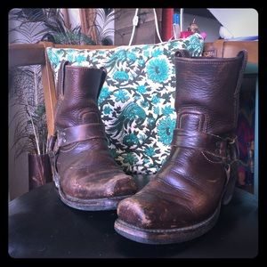 Frye brown western leather boots.  Size 8